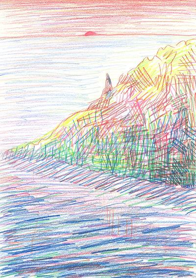 5_sunset_A4(29,7x21cm)_color pencil_2019