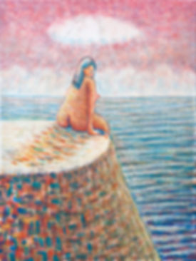 1_sitting on the rock by the sea_40x30cm