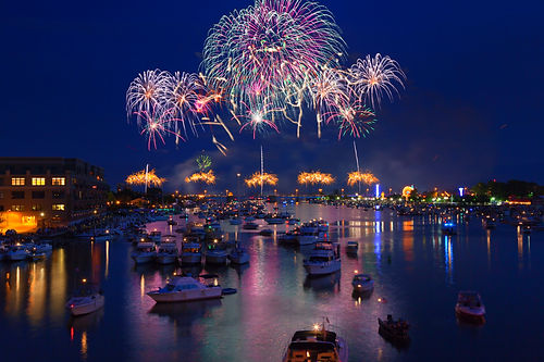 Fireworks explode in a glorious display