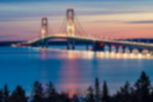 Mackinac Bridge Night Lights, St. Ignace