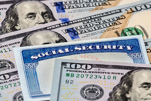 Closeup of Social Security benefits iden