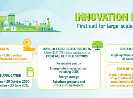 First call of the EU Innovation Fund open until 29 October 2020