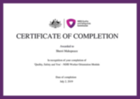 NDIS Certificate of Completion