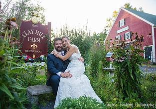 Bride and groom at Clay Hill Farm barn