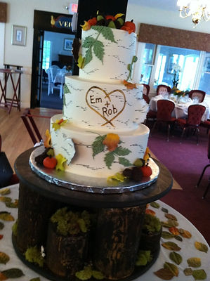 Unique wedding cake served at Clay Hill Farm