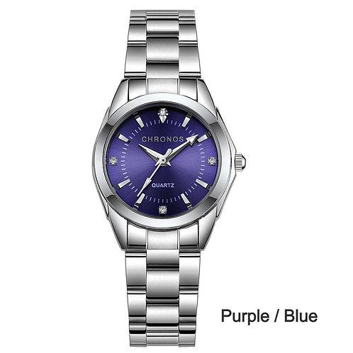 CHRONOS Women Luxury Rhinestone Stainless Steel Quartz Watch