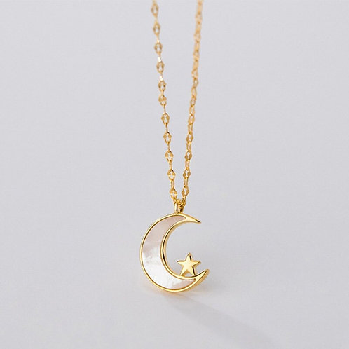 925 Silver Gold plated 'Moon & Star