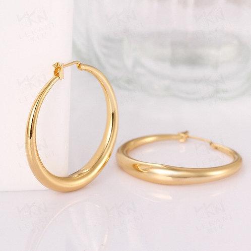 Solid 925 Silver / Gold Big Smooth Circle Hoop Earrings