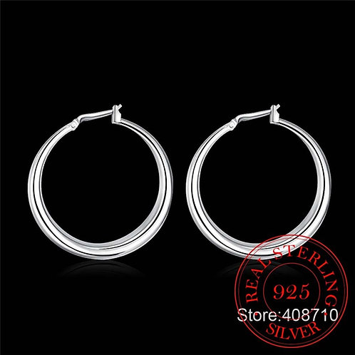 Solid Big Smooth Circle earrings 925 Sterling Zilver