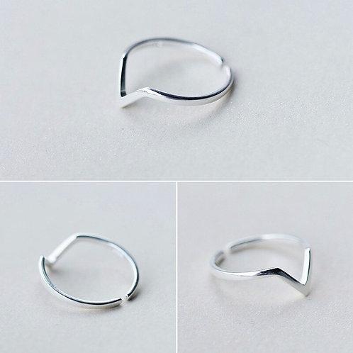 Silver Geometric Wave Letter V