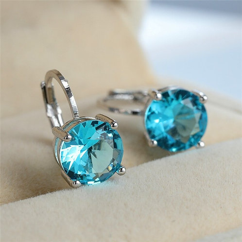 Crystal Stone Earring Charm Turquoise / Red Silver