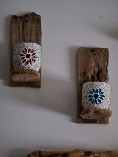 Candle holder on driftwood