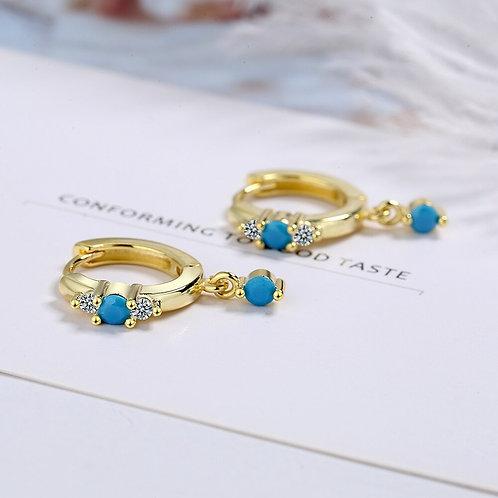 Blue Crystal Zirkoon retro drop earrings