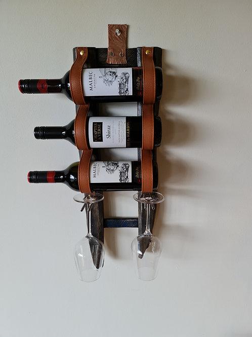 Driftwood & Genuine Leather Wine Rack. 3 Bottles 2 glasses