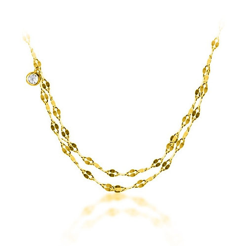 925 silver gold plated necklace with a litle white rhinestone