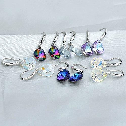Simple Crystal Water Drop Dangle Earrings