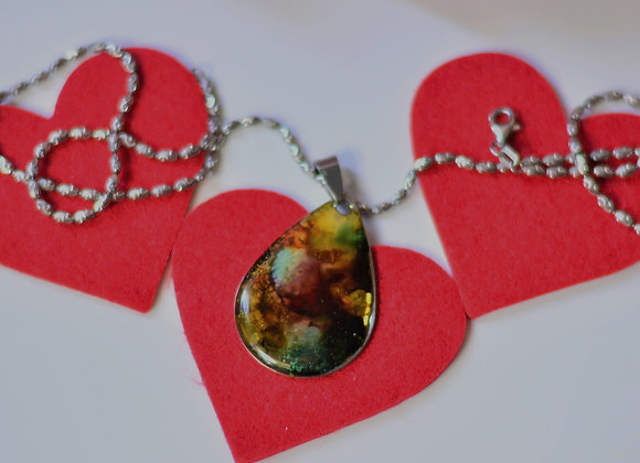 Hand Painted Abstract Necklace - Wanderlust Necklace