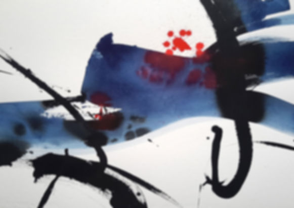 Abstraction maritime art abstrait encre bleu rouge