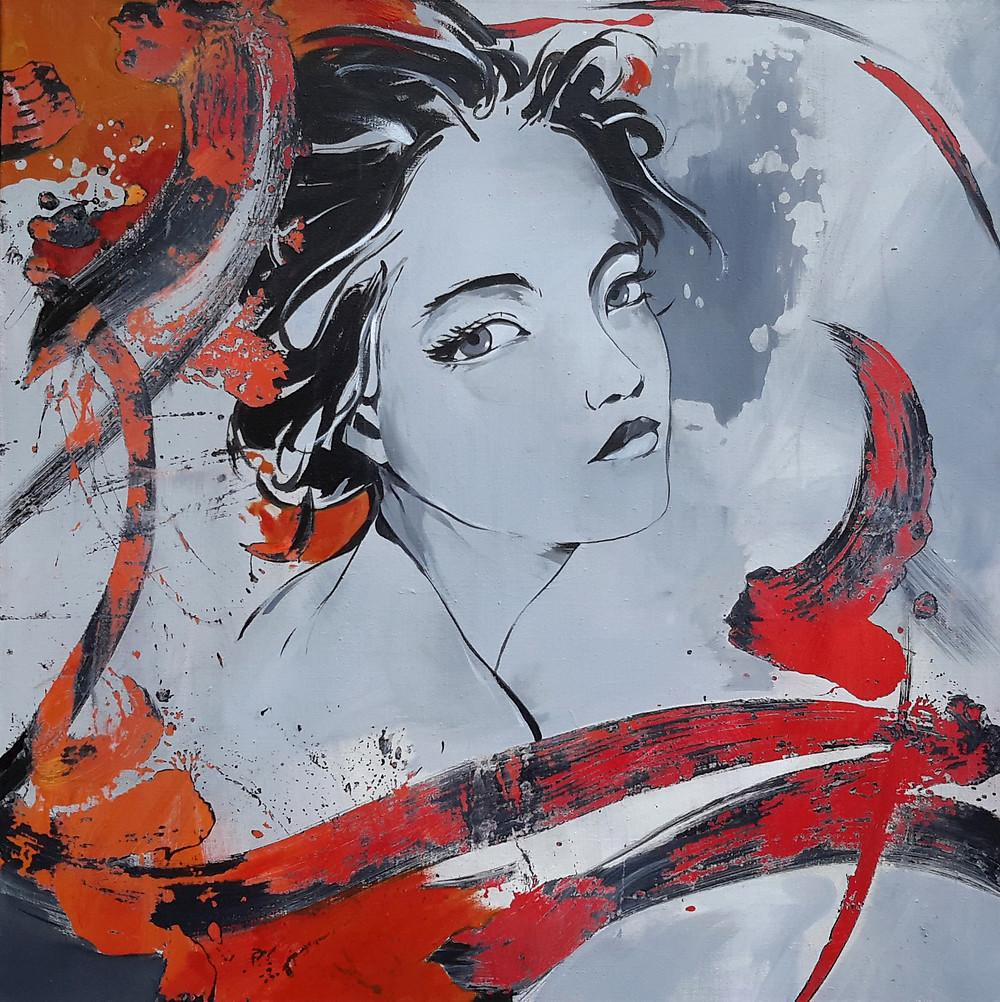 format 80 x 80 cm acrylique sur toile