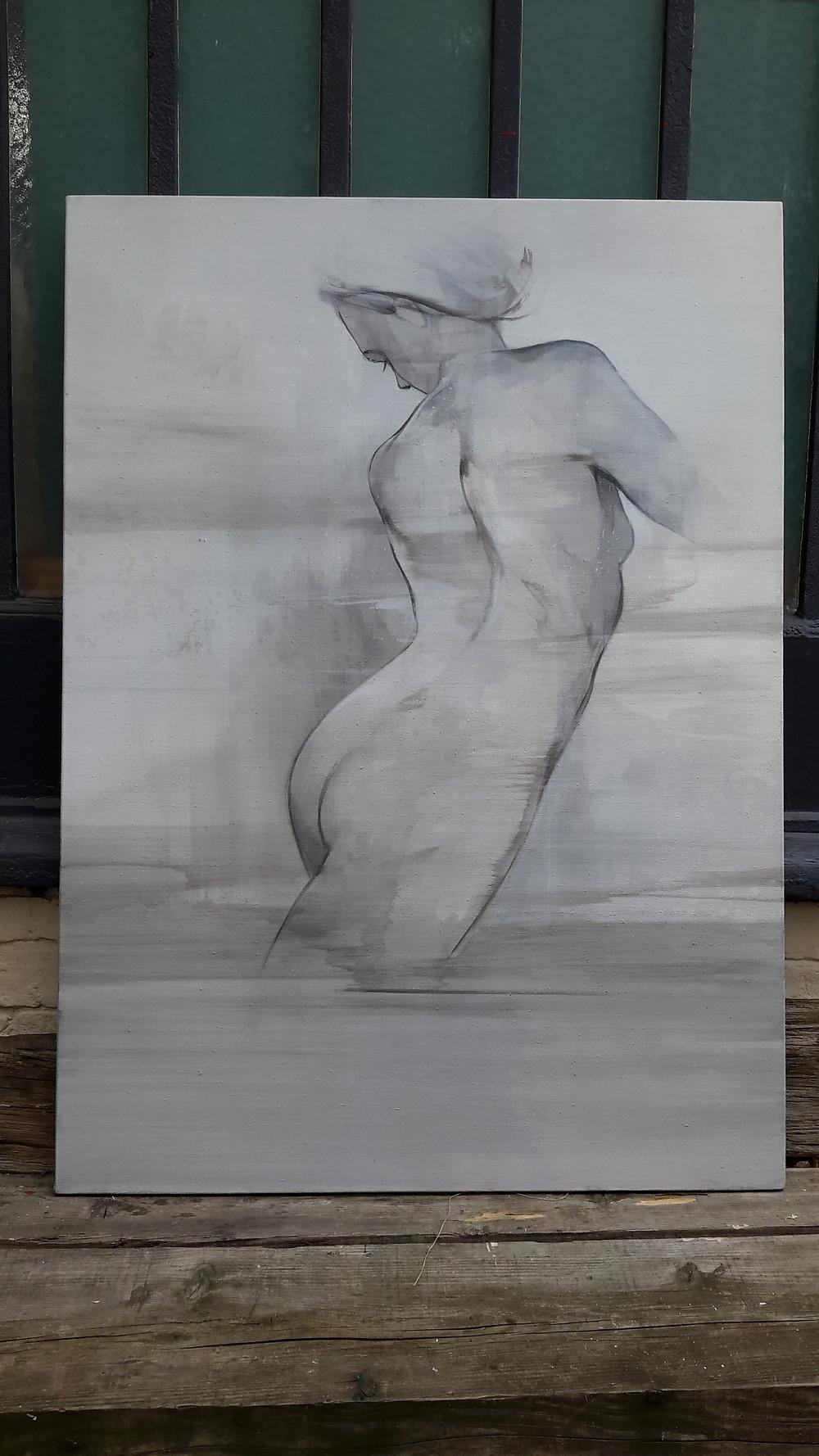 Nouvelle toile en cours, j'aime bien le gris, et cependant, ça semble pas fini, d'où le blocage , que faire quand c'est beau et pas fini ...