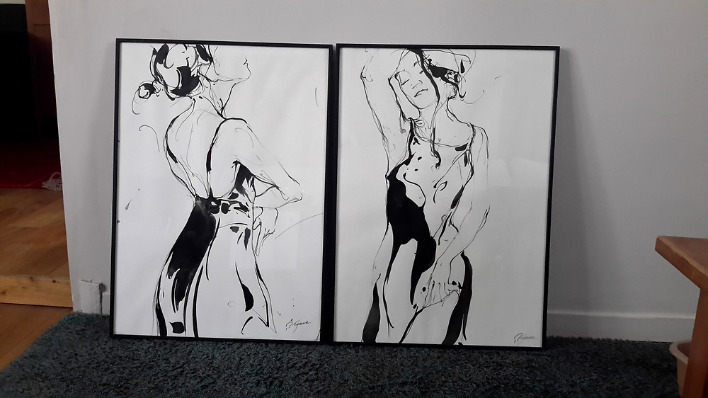 """Paire de deux dessins, intitulée """"la petite robe noire"""", vendue ce jour à deux collectionneurs fort sympatiques! Merci à eux!"""