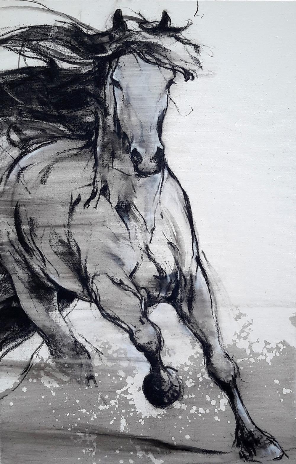 Cheval frison, en mouvement, 100 x 73 cm, juillet 18