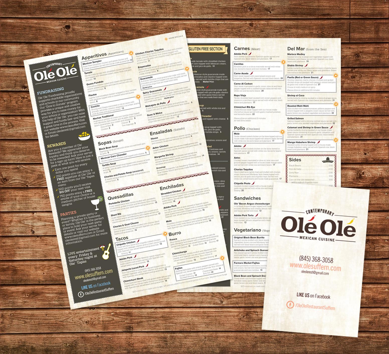 Olé Olé menu designs