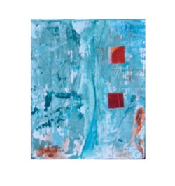 light blue with red accents abstract cub