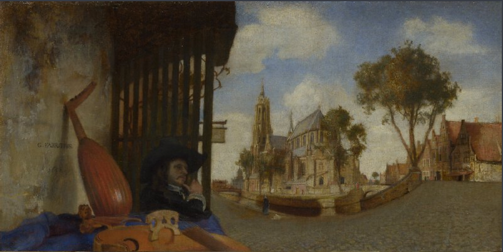 A View of Delft painted by Carel Fabritius in 1652
