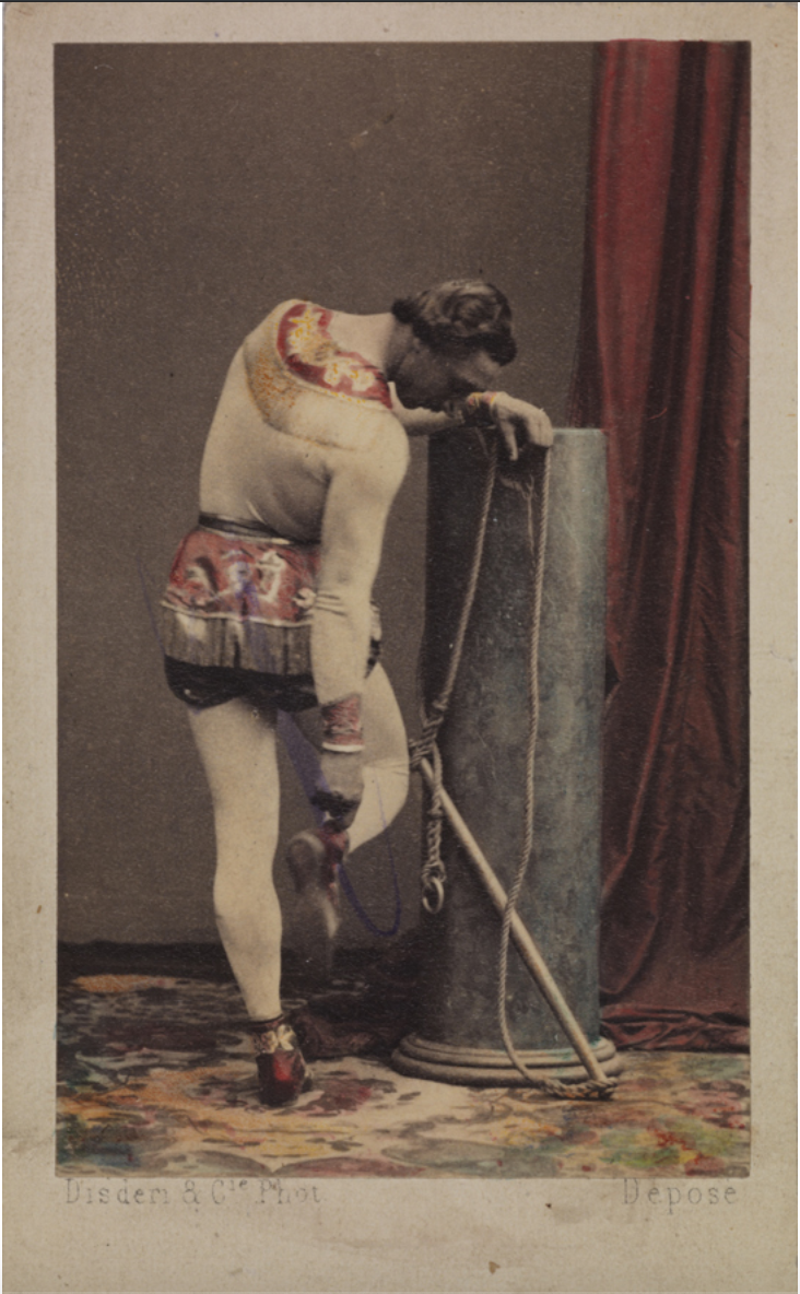 Monsieur Léotard with his trapeze, checking his plimsole, c.1865, Disdéri & Co., Science Museum Group collection