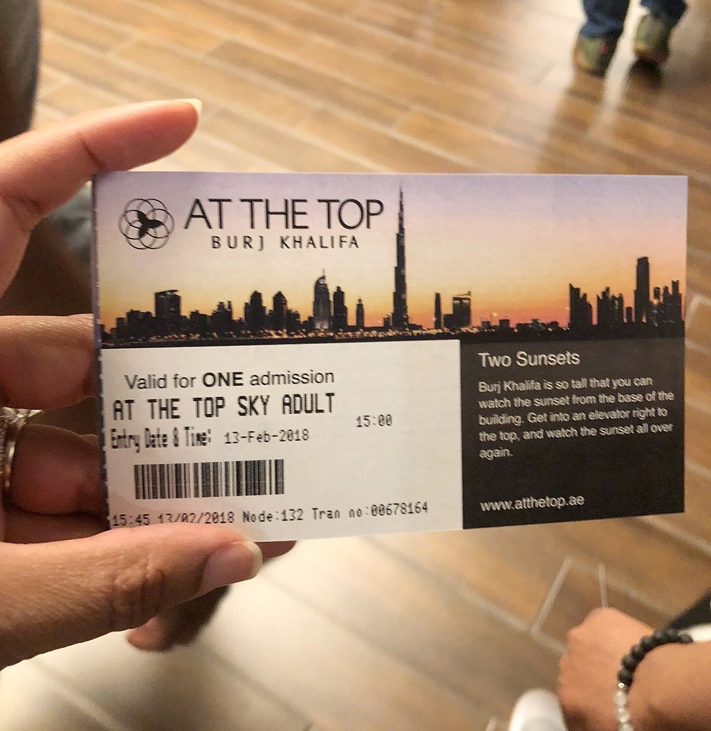 Ticket to the top of the Burj Khalifa