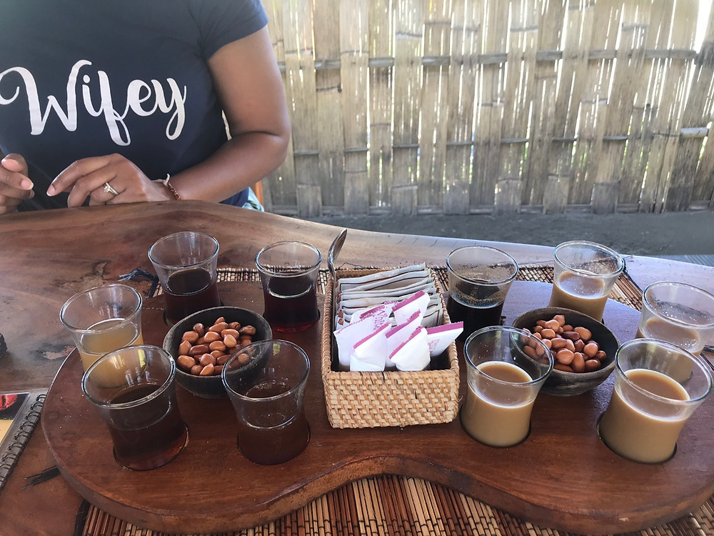 Coffee tasting with 10 different local coffees and teas. Including the famous Luwak Coffee