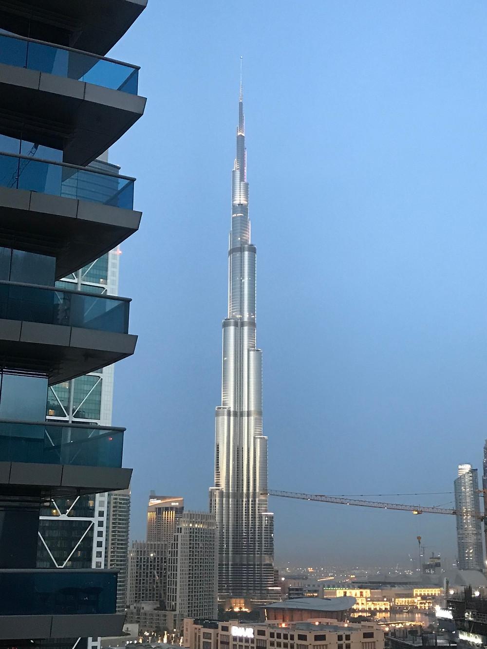 Balcony view of the Burj Khalifa, right before sundown