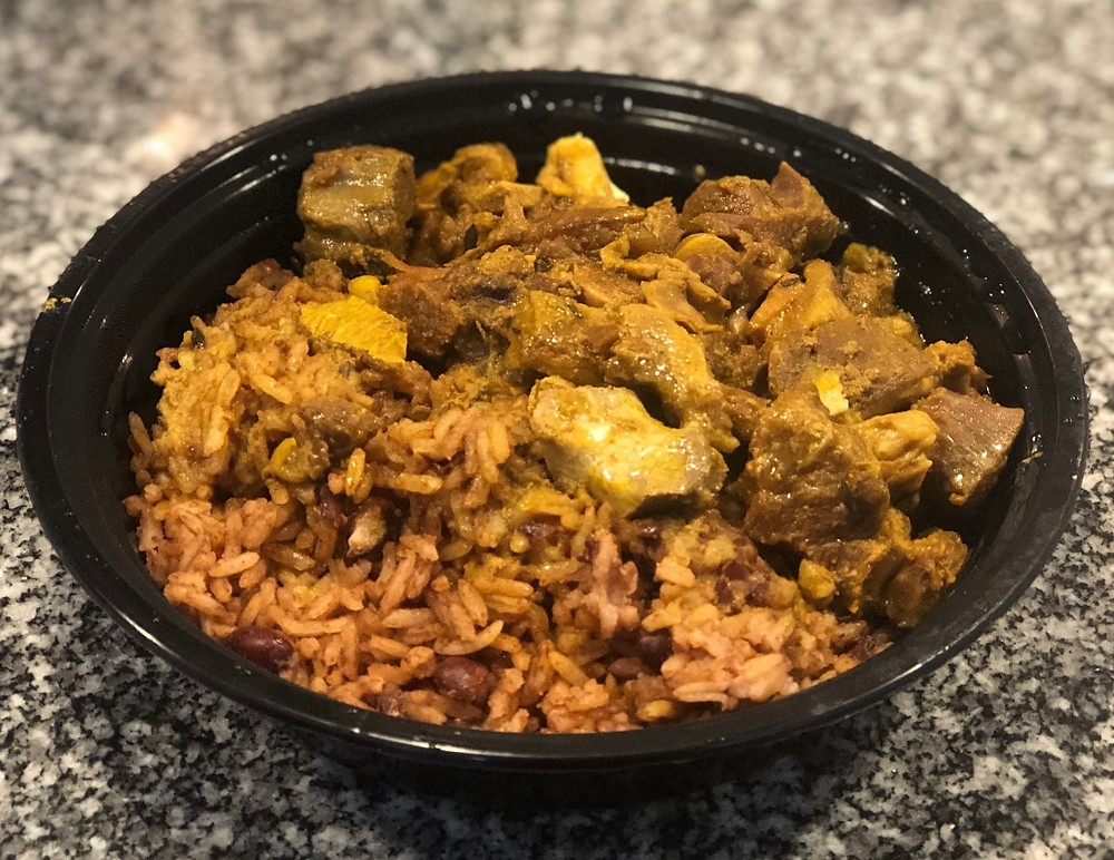 Curry Goat meal from Little Ochie