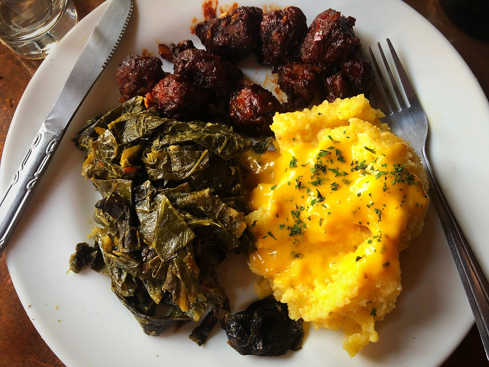 """riblets"" with ""cheese"" grits and collard greens"