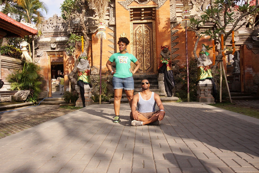 Me and the hubby channeling our inner monarchs at a palace in Ubud, Bali