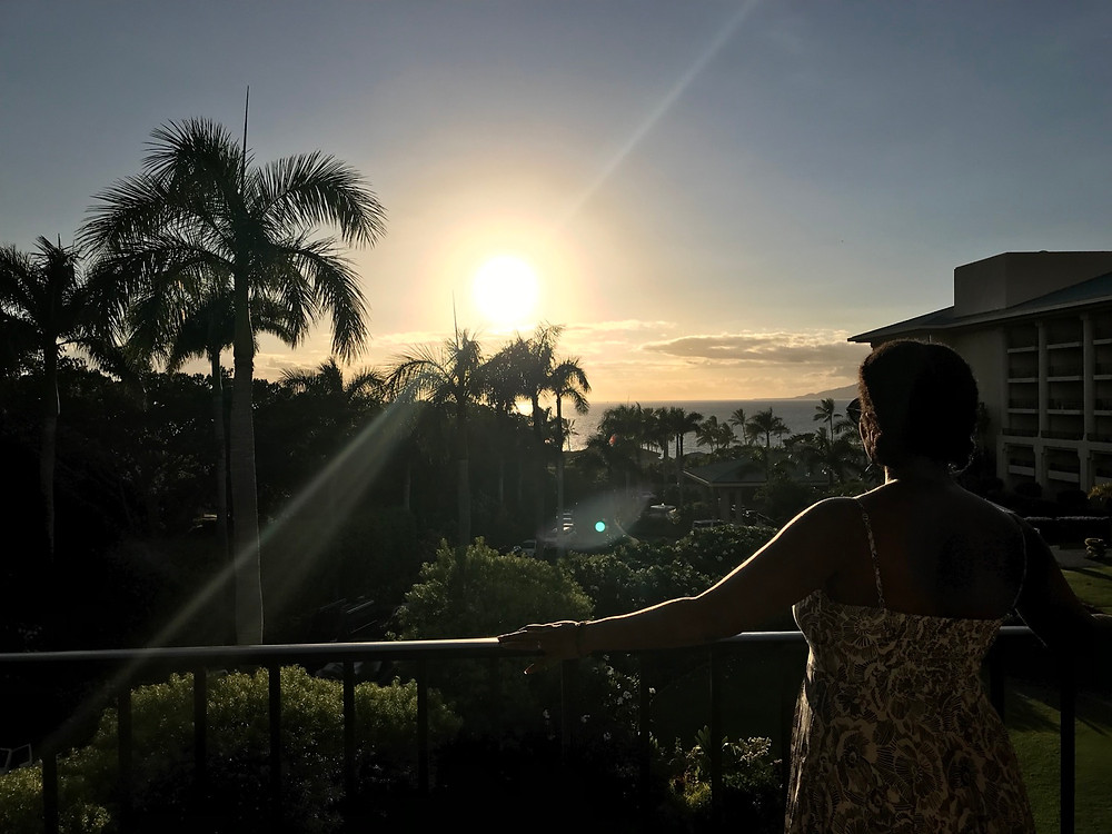 Watching the sunset from our balcony