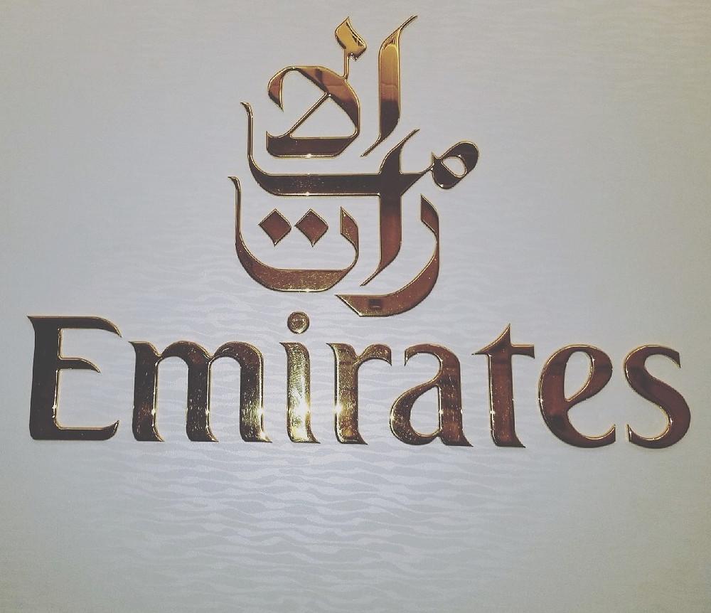 Emirates logo emblazoned inside our plane