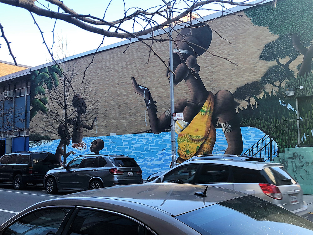 Mural on the side of a school in Harlem