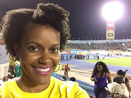 Selfie at the National Stadium in Kingston at Boys and Girls CHAMPS in 2016.