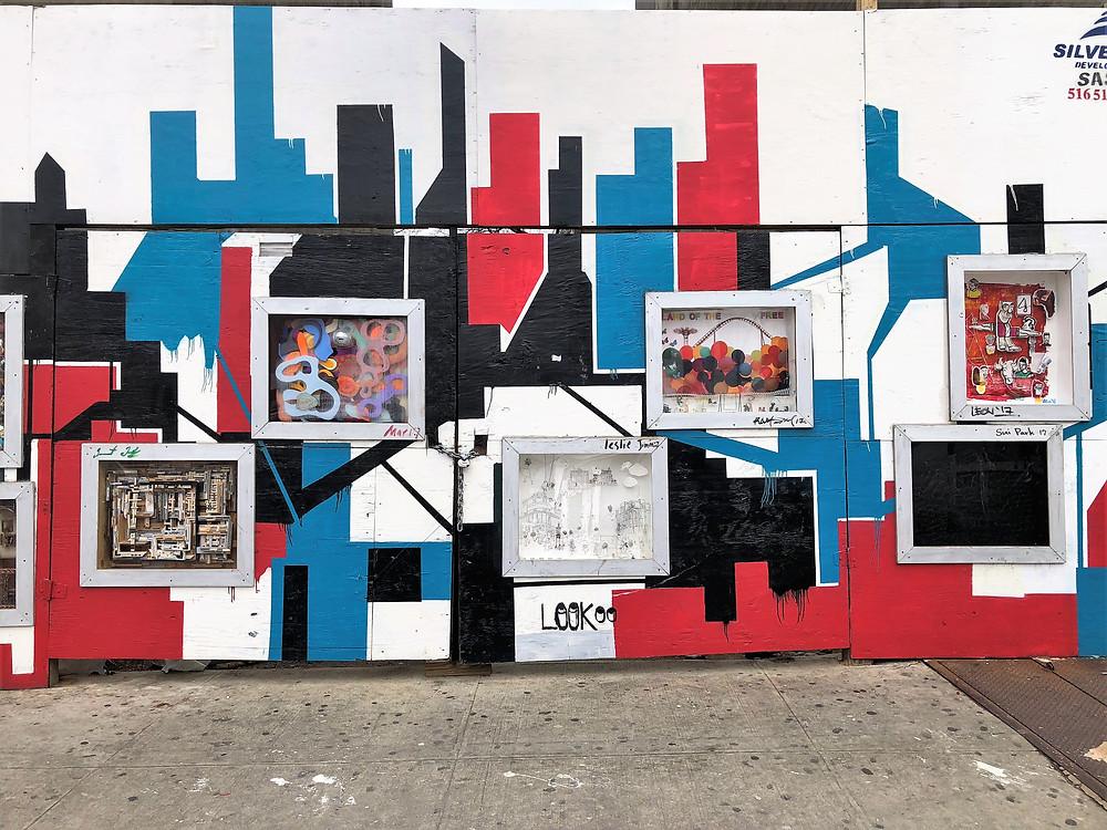 Wall art installation on streets in Harlem