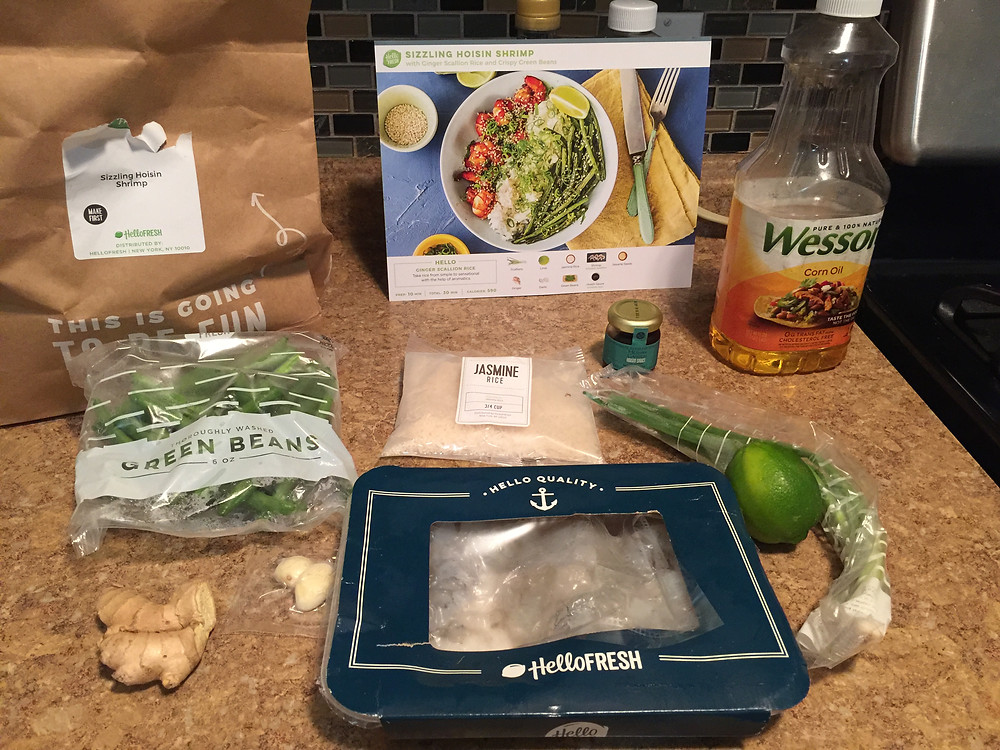 Gathering ingredients for one of the first HelloFresh Meals we tried