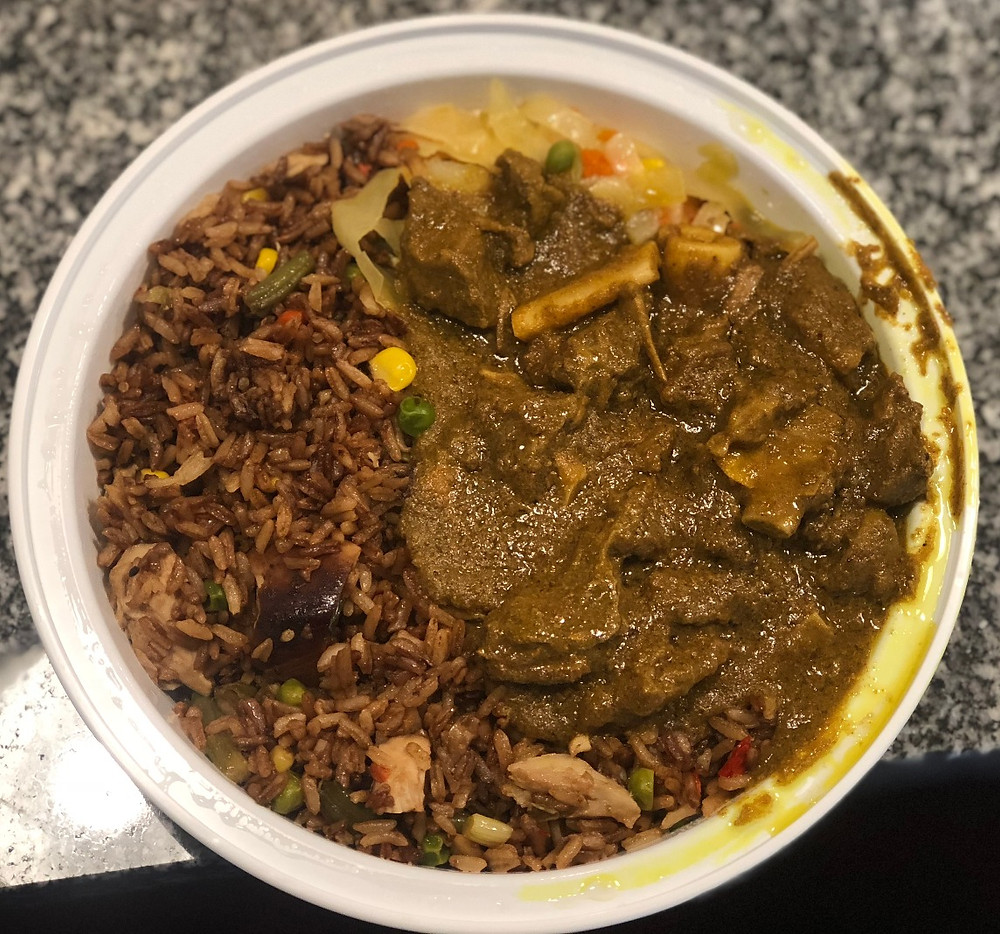 Curry Goat and Jerk Chicken Fried Rice from Caribbean Starr