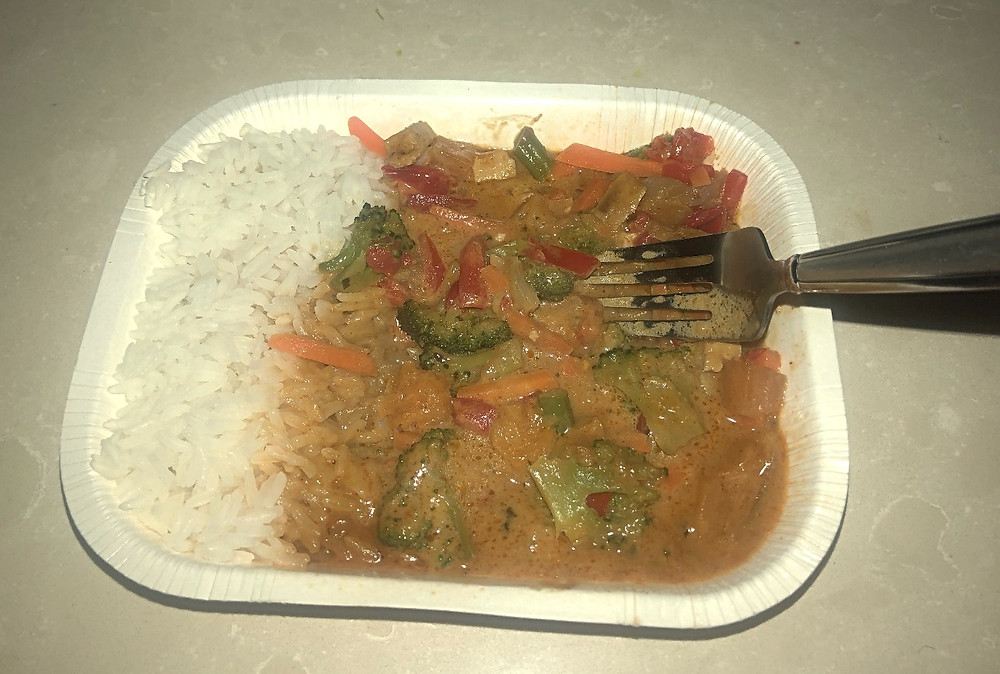 Amy's Red Thai Curry microwaved and ready to eat