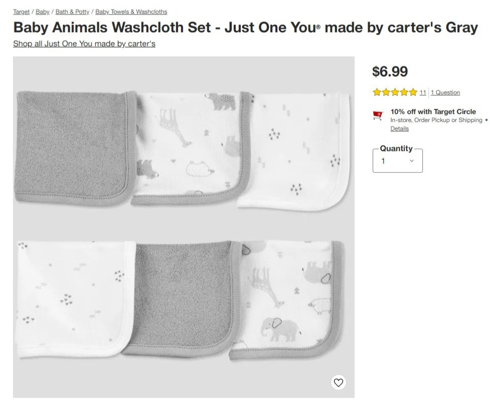 Baby Washcloth Set from Target