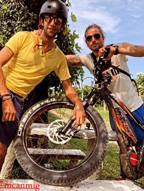 Guys and mountain-bike