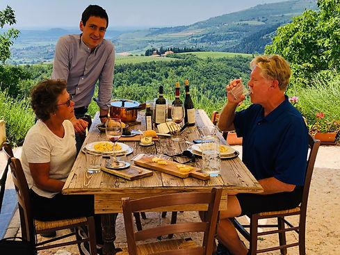 Wine tasting on the terrace
