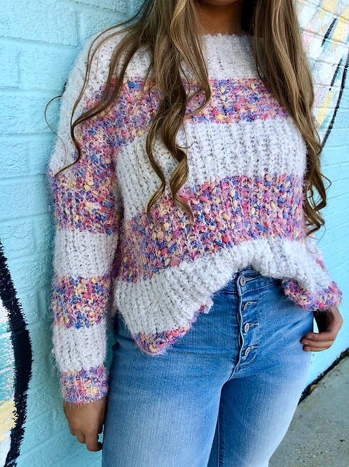 Candy Crush Striped Popcorn Sweater