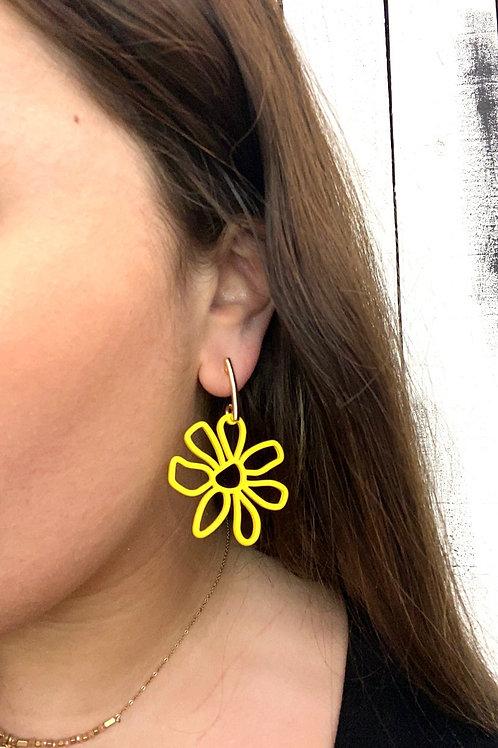Opal Jewels Retro Flower Earrings: Yellow