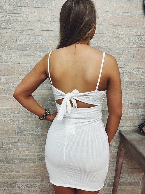 Caught in the Bleachers Mini Dress: White